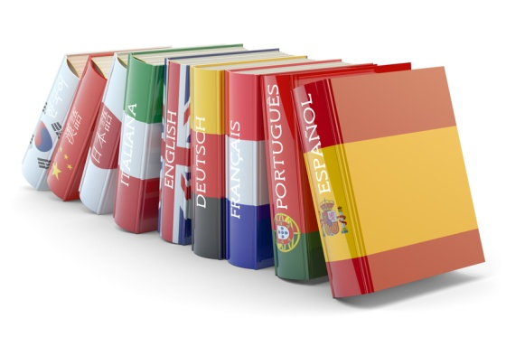 Foreign languages learn and translate education concept, books with covers in colors of national flags of world countries isolated on white