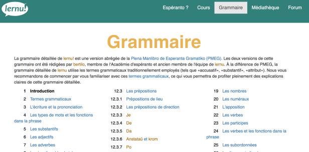 esperanto grammaire